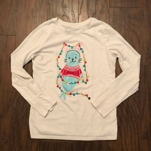 Cat&Jack Girls Christmas Seal Lights Shirt 7/8